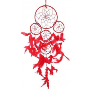 5 Rounds Red Color Dream Catcher Wall Hanging