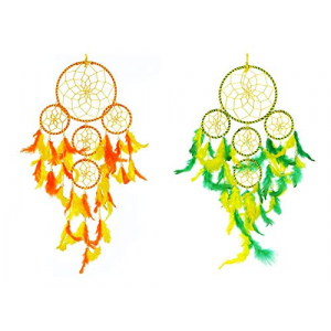 5 Rounds Green Yellow and Yellow Orange Dream Catcher Wall Hanging Combo (Pack of 2)