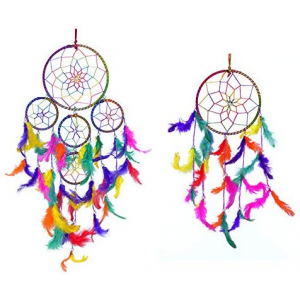 Dream Catcher 5 Rounds Wall Hanging (Combo Pack of 2) for Positive Energy and Protection (Big & Small Combo)