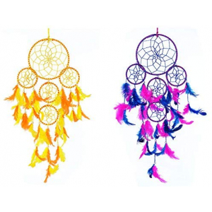 Dream Catcher 5 Rounds Wall Hanging (Combo Pack of 2) for Positive Energy and Protection