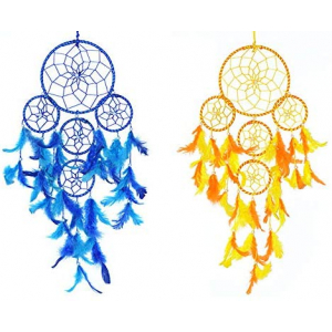 Dream Catcher 5 Rounds Wall Hanging (Combo Pack of 2) for Positive Energy and Protection (Big Size 55cm)
