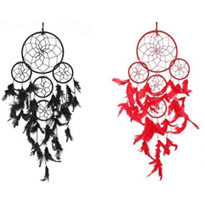 Red & Black 5 Rounds Dream Catcher Combo (Pack of 2) Wall Hanging