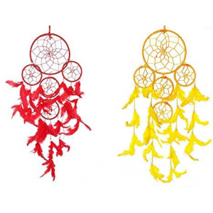 Dream Catcher 5 Rounds- (Red and Yellow)