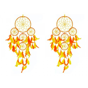 5 Rounds Orange Yellow Dream Catcher Combo (Pack of 2)
