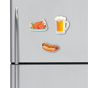 Beer, Chicken, Hotdog HD Digital Printed ,Fridge Magnets Combo,  Size 4 inches (Pack of 3)