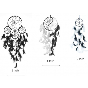 Dream Catcher 5 Rounds , Yin Yang , Small 3 Inch (Black)- (Pack of 3)