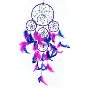 5 Rounds Blue/Pink Color Dream Catcher Wall Hanging
