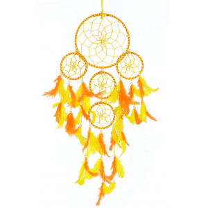 5 Rounds Orange and Yellow Dream Catcher Wall Hanging