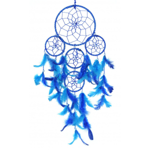 5 Rounds Blue Color Dream Catcher Wall Hanging
