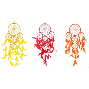 5 Rounds Red,Orange and Yellow Dream Catcher Wall Hanging Combo (Pack of 3)