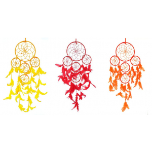 Rounds Red,Orange and Yellow Dream Catcher Wall Hanging Combo (Pack of 3)