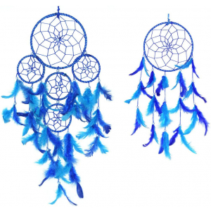 Dream Catcher 5 Rounds Wall Hanging (Combo Pack of 2) for Positive Energy and Protection (Big & Medium Combo) - for