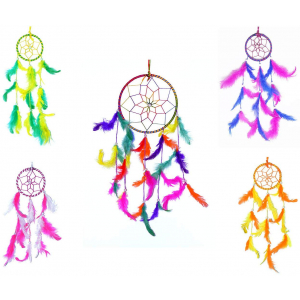 Multi Color 6 Inch and Small 3 Inch Dream Catchers Combo for Cars/Rooms (Pack of 5)
