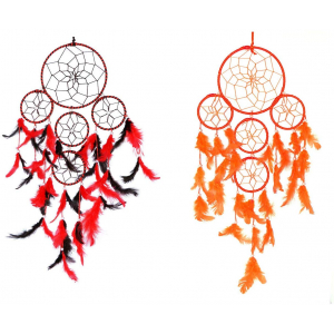 5 Rounds Red Black and Orange Dream Catchers Wall Hanging Combo (Pack of 2)