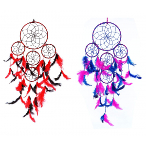 Red Black and Pink Blue 5 Rounds Dream Catcher Combo (Pack of 2) Wall Hanging