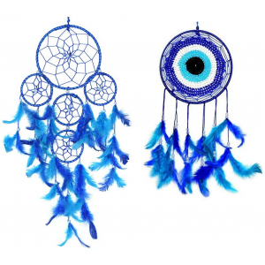 5 Rings and Evil Eye Dream Catcher Wall Hangings Combo Blue (Pack of 2)