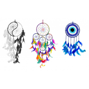 Dream Catcher Wall Hanging Combo - 5 Rounds, Yin Yang and Evil Eye - (Pack of 3)