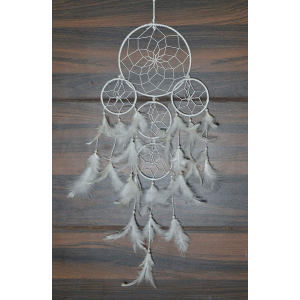 5 Rounds White Color Dream Catcher Wall Hanging