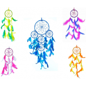 5 Rounds and Small 3 Inch Dream Catchers Combo for Cars/Rooms (Pack of 5)