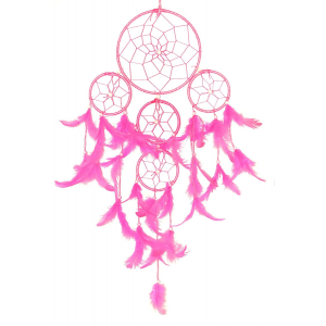 Dream Catcher 5 Rounds Pink Wall Hanging for Positive Energy