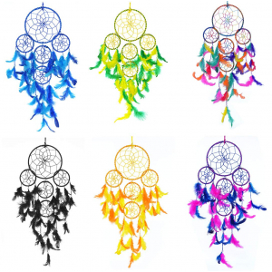 Dream Catcher 5 Rounds Wall Hanging Combo Multi Color (Pack of 6)