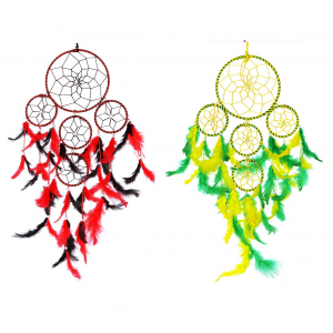 Dream Catcher 5 Rounds - (Red/Black) and (Yellow/Green)- (Pack of 2)