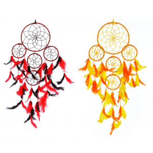 5 Rounds Red Black and Yellow Orange Dream Catcher Wall Hanging Combo (Pack of 2)