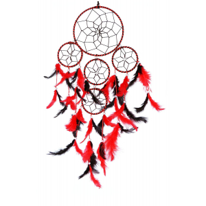 5 Rounds Red & Black Color Dream Catcher Wall Hanging