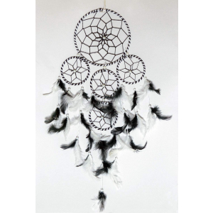 5 Rounds Black & White Color Dream Catcher Wall Hanging