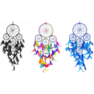 5 Rounds Multi, Black & Blue Dream Catcher Wall Hanging Combo(Pack of 3)