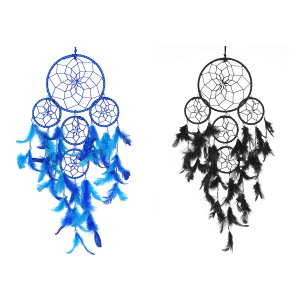 Black & Blue 5 Rounds Dream Catcher Combo (Pack of 2) Wall Hanging