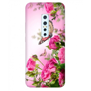 Flower with Butterfly  Vivo V17 Pro Mobile Cover