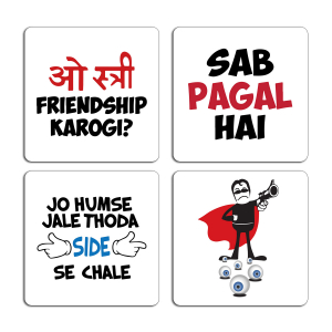 Funny Quotes Illustration Printed Tea Coaster Set of 4 ARTCOASTERSET4COMBO-39