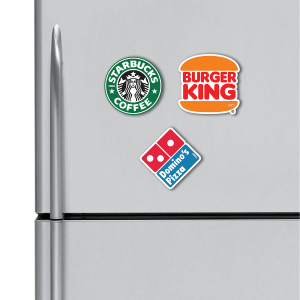 Starbucks, Burger King, Dominos HD Digital Printed ,Fridge Magnets Combo,  Size 4 inches (Pack of 3)