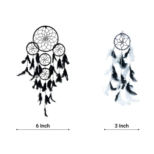 Dream Catcher 5 Rounds (Black) and Small (3 Inch) (Black/White)- (Pack of 2)