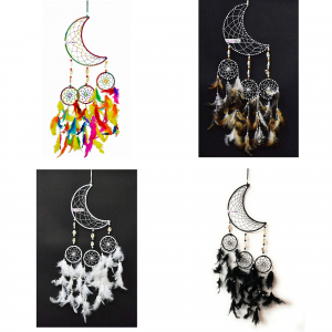 Dream Catcher Moon Crescent and 3 Rounds - Multicolor (Pack of 4)