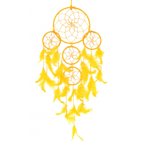 5 Rounds Yellow Color Dream Catcher Wall Hanging
