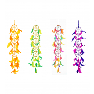 Ashvah 5 Rings Long Dream Catcher Wall Hanging (3 Inches) - for Home/Office/Shop/Car (Multicolor) (Pack of 4)