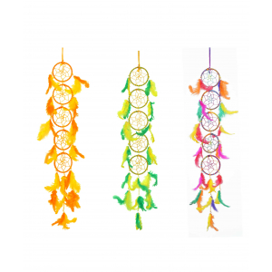 Ashvah 5 Rings Long Dream Catcher Wall Hanging (3 Inches) - for Home/Office/Shop/Car (Multicolor) (Pack of 3)