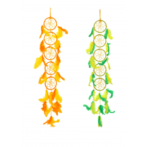 Ashvah 5 Rings Long Dream Catcher Wall Hanging (3 Inches) - for Home/Office/Shop/Car (Multicolor) (Pack of 2)