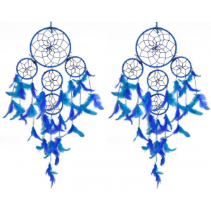 5 Rounds Blue Color Dream Catcher Combo (Pack of 2) Wall Hanging