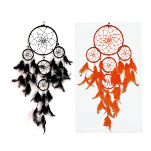 Black & Orange 5 Rounds Dream Catcher Combo (Pack of 2) Wall Hanging