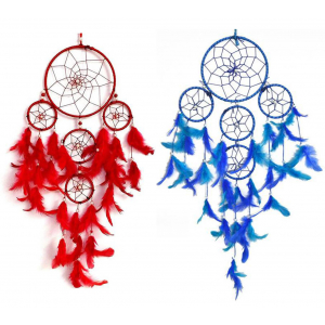 Red & Blue 5 Rounds Dream Catcher (Pack of 2) Wall Hanging