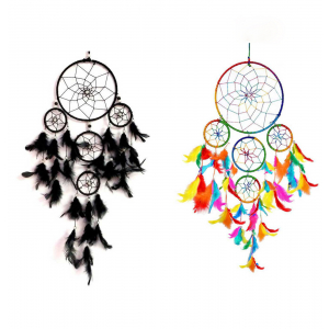 5 Rounds Black and Multi Dream Catcher (Pack of 2) Wall Hanging