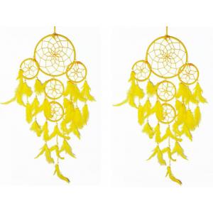 5 Rounds Yellow Color Dream Catcher (Pack of 2) Wall Hanging