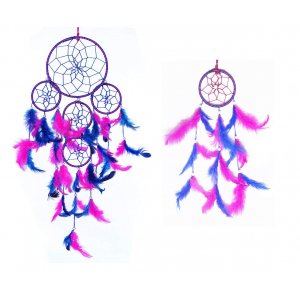 5 Rounds Blue & Pink Dream Catcher (Pack of 2) Wall Hanging