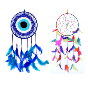 Dream Catcher Evil Eye or Multi Color Dream Catcher Wall Hangings (Pack of 2) for Positive Energy and Protection