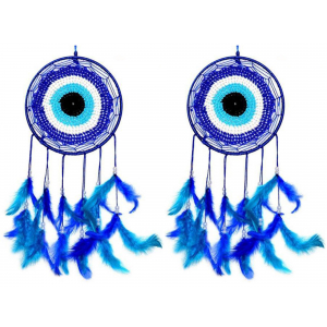 Evil Eye Blue Color Dream Catcher (Pack of 2) Wall Hanging