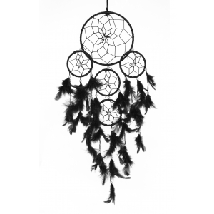 5 Rounds Black Color Dream Catcher Wall Hanging