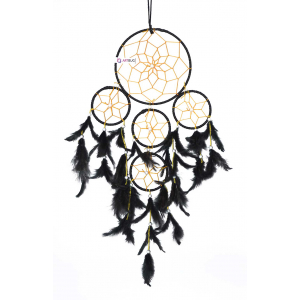 Ashvah 5 Rounds Wall Hanging for Positive Energy and Protection (Big Size 55cm) - for Home/Office/Shop/Rooms (Black) (Pack of 1)